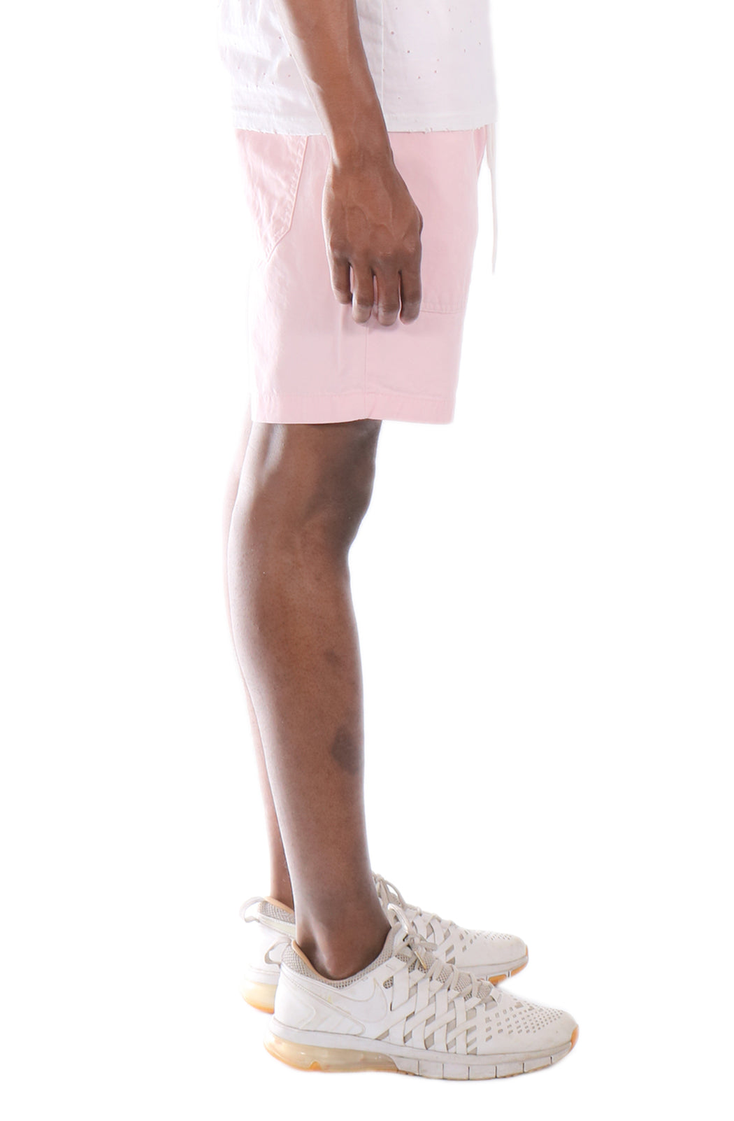Allston Outfitter Pastel Color Cotton Twill Elastic Banded Shorts in Pastel Pink