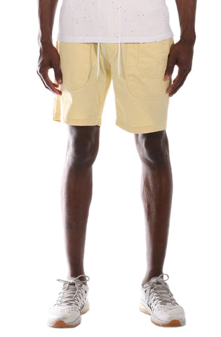 Allston Outfitter Pastel Color Cotton Twill Elastic Banded Shorts in Pastel Yellow
