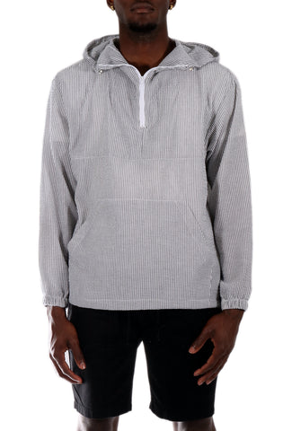 Allston Outfitter Yarn Dye Stripe Half Zipper Front Long Sleeve Hoodie in Grey