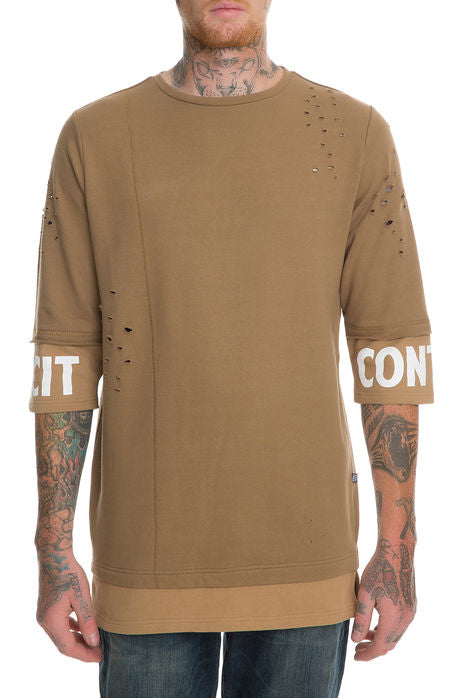 The S.Q.Z. Premium Cotton French Terry Layered 3/4 Sleeve Pullover. (Style # HT-1200-TIMBER)