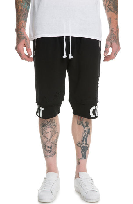 The S.Q.Z. Premium Cotton French Terry Layered Short Pant. (Style# HP-5200-BLACK)
