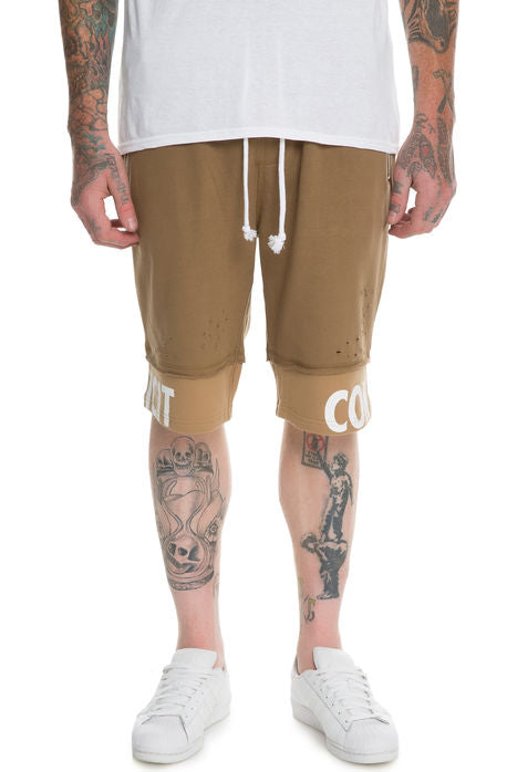 The S.Q.Z. Premium Cotton French Terry Layered Short Pant. (Style# HP-5200-TIMBER)