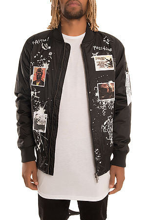 The S.Q.Z. Padded Bomber Jacket with Print & Patchwork (GK-6300-Black)