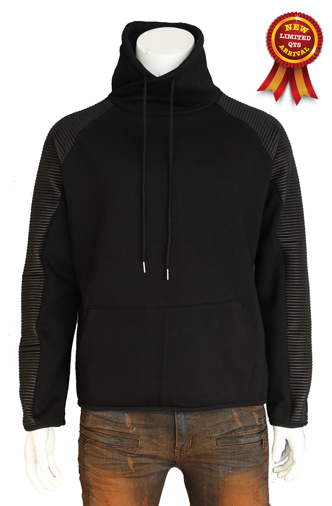 The Allston moto-inspired raglan sleeve high neck heavy fleece top (Sty DM-108-BLK)