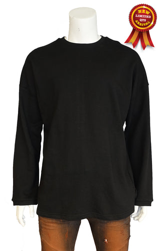 The Allston Outfitter full zip down heavy terry crew neck top (Sty DM-109-BLK)