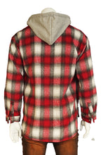 The Allston floral patch Flannel Plaid Shirt Jacket with Fleece Hoodie in Red (Sty# DM-110-RED)