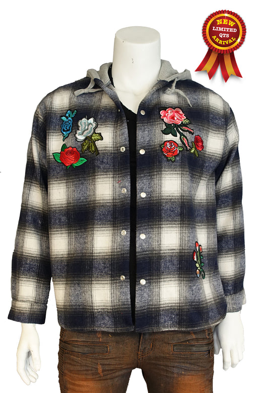 The Allston floral patch Flannel Plaid Shirt Jacket with Fleece Hoodie in Red (Sty# DM-111-BLUE)