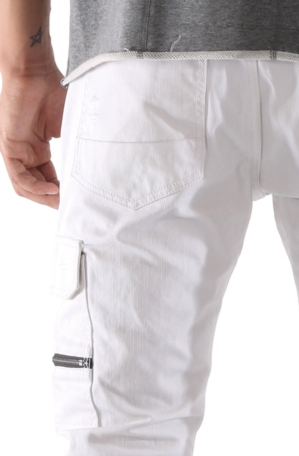 The SQZ Premium Moto Inspired Skinny Pants in White Wax (GD-2215-White)