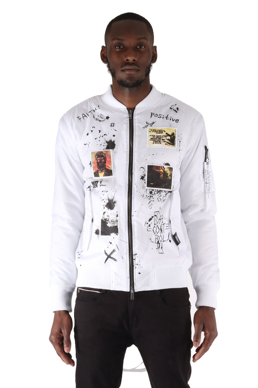 The S.Q.Z. Padded Bomber Jacket with Print & Patchwork (GK-6300-White)