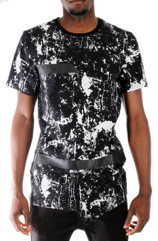 The SQZ Premium Cotton Marble Print T-Shirt in Black (Sty GT-4100-Black)