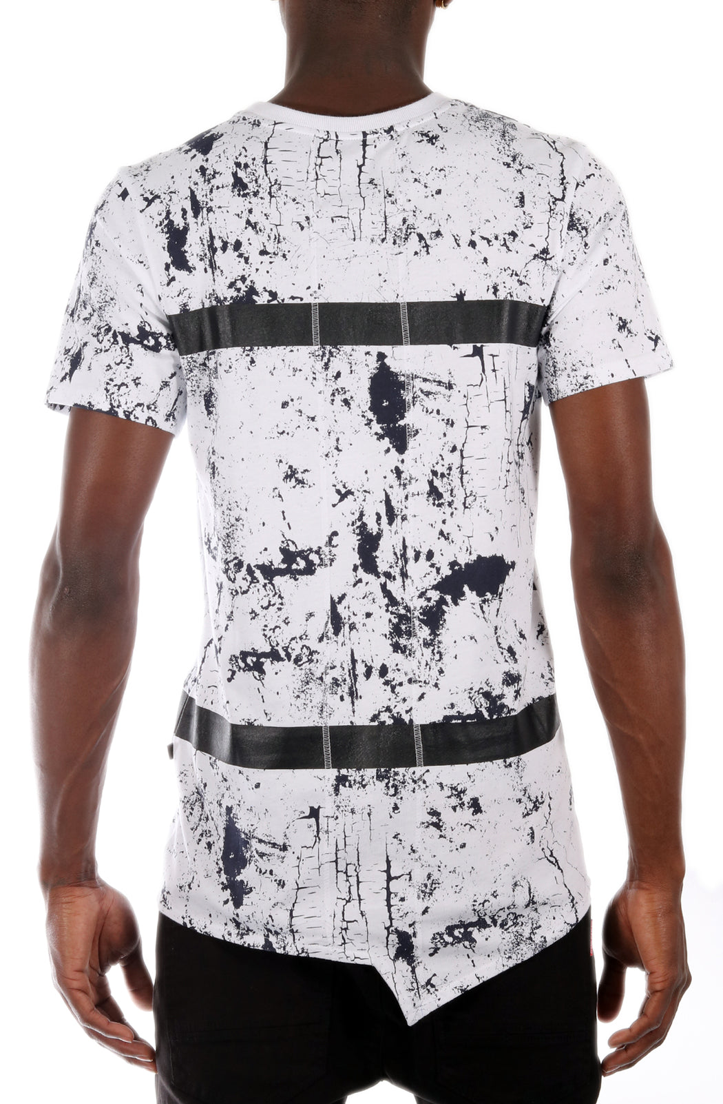 The SQZ Premium Cotton Marble Print T-Shirt in White (Sty GT-4100-White)