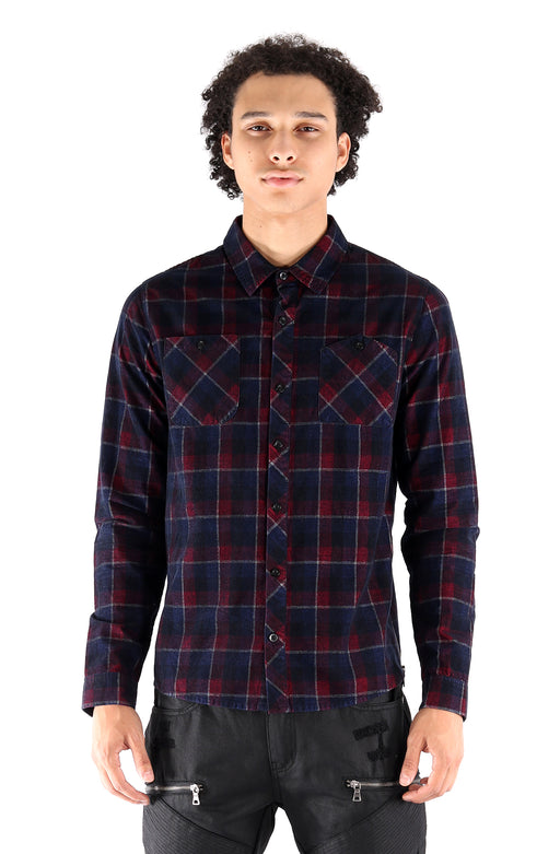 The SQZ Premium Corduroy Plaid Button Down Shirt in Navy Red (Sty GW-4900-NavyRed)