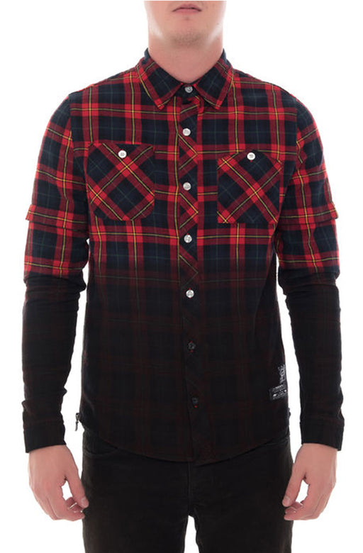 The Square Zero Flannel Dip Dye Long Sleeve Shirts (Sty GW-4800-Red)