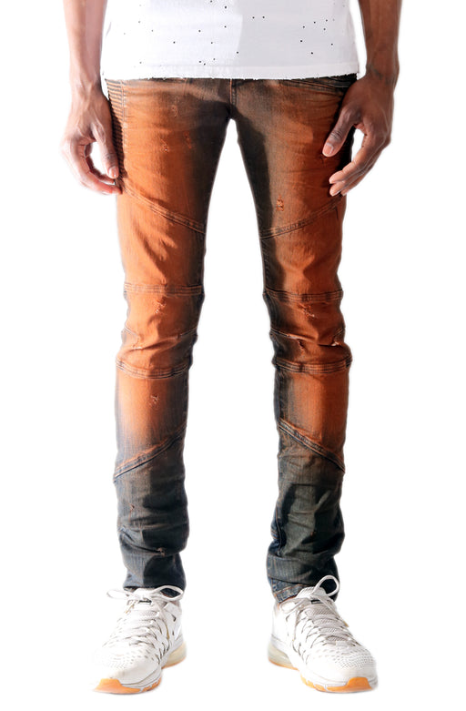 The S.Q.Z. Premium Cotton Span Denim Motor Inspired Pants in Cumin (STY HD-4000-Cumin)