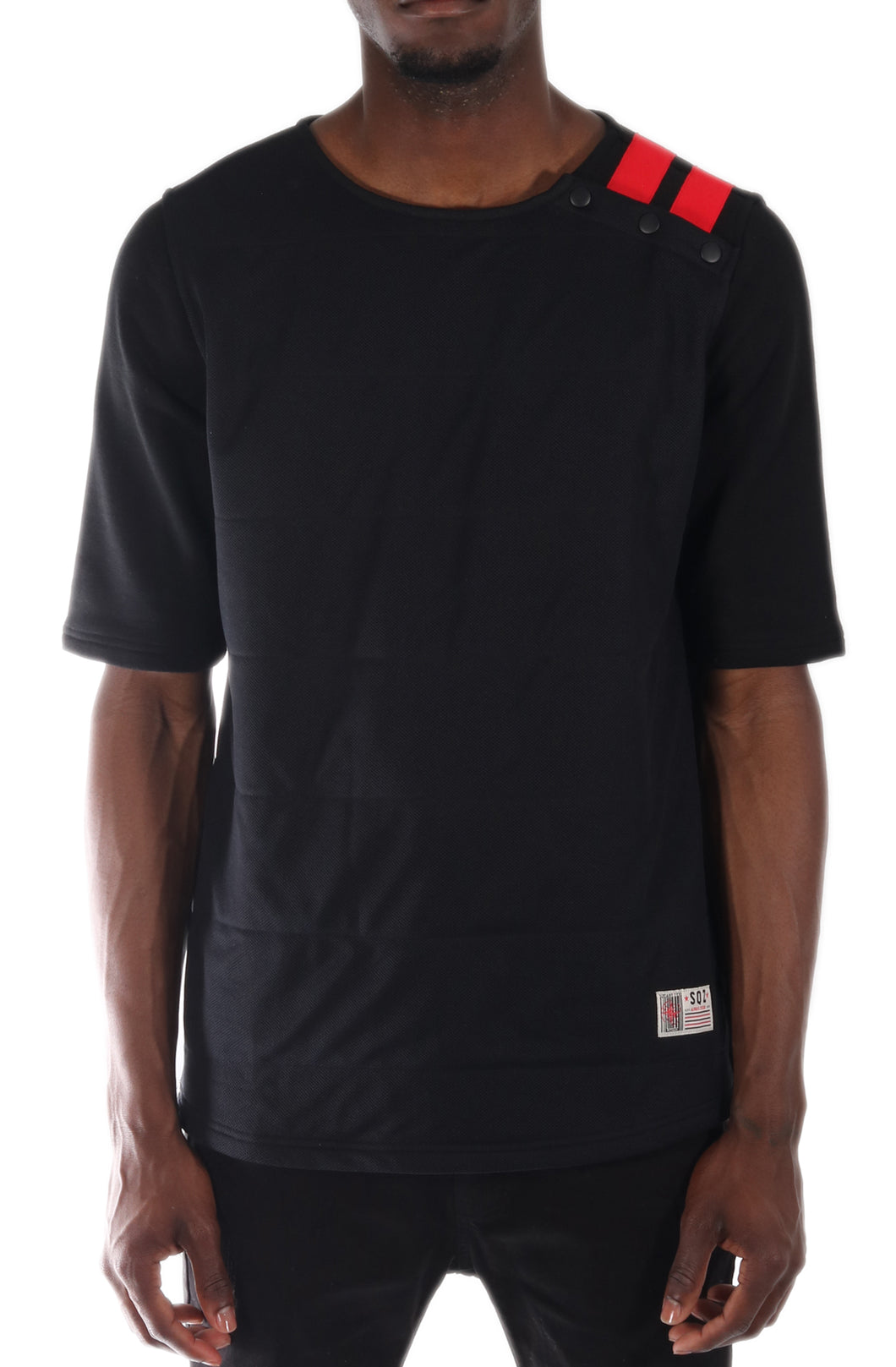 S.F.C Premium Cotton French Terry Double Layered Front Mesh Short Sleeve Tee in Black