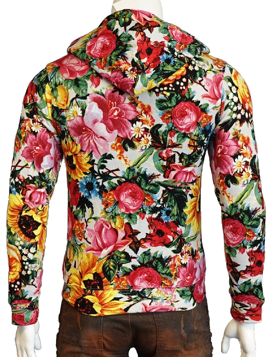 Joyrich Floral Print Zipper Down Hoodie Terry Jacket (Sty JOYH1301HD)
