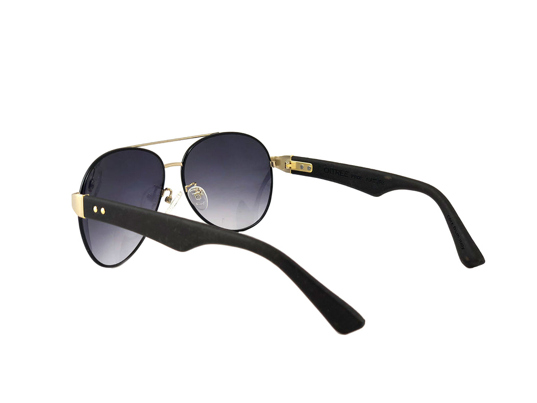 DIA Lenses by Ayisha & Ashley Diaz Collection Hand Crafted Natural Cork Temple Eyewear. Classic Aviator Black Sunglasses.