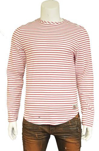 The Springfield Classic Ring Span Yarn Dye Stripe T-Shirt (Sty SM-101-Red)