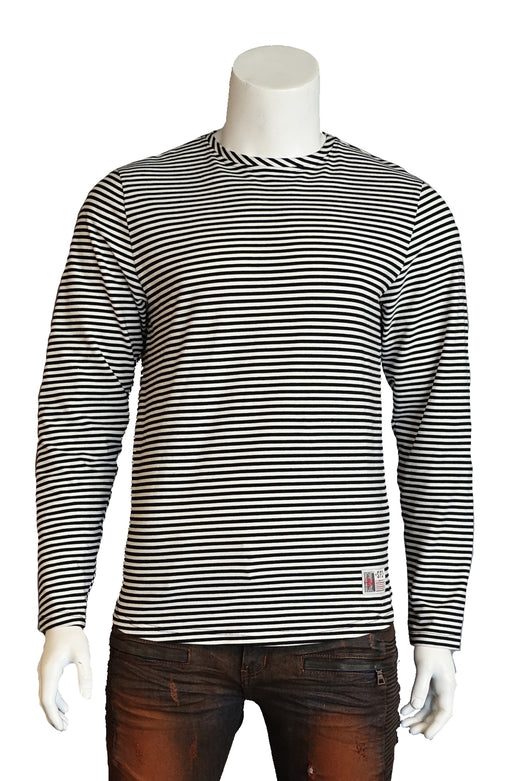 The Springfield Classic Ring Span Yarn Dye Stripe T-Shirt (Sty SM-102-Black)