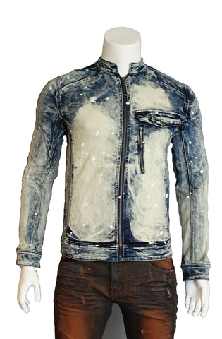 The SFC Premium Moto-Inspired Span Denim Heavy Washing Jacket (Sty SM-107)
