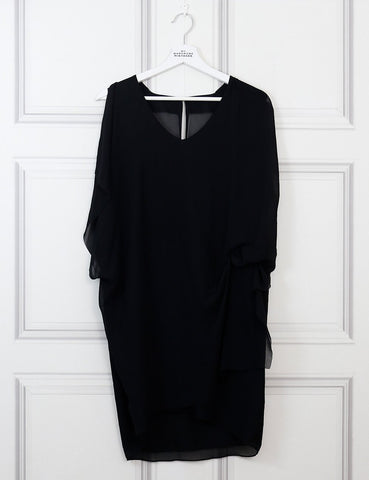 ACNE CLOTHING 12UK-44IT-40FR / Black ACNE Mallory draped crepe dress
