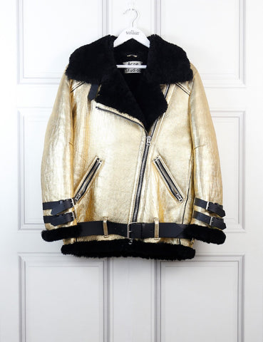 Acne Studios gold Velocite metallic jacket 6Uk
