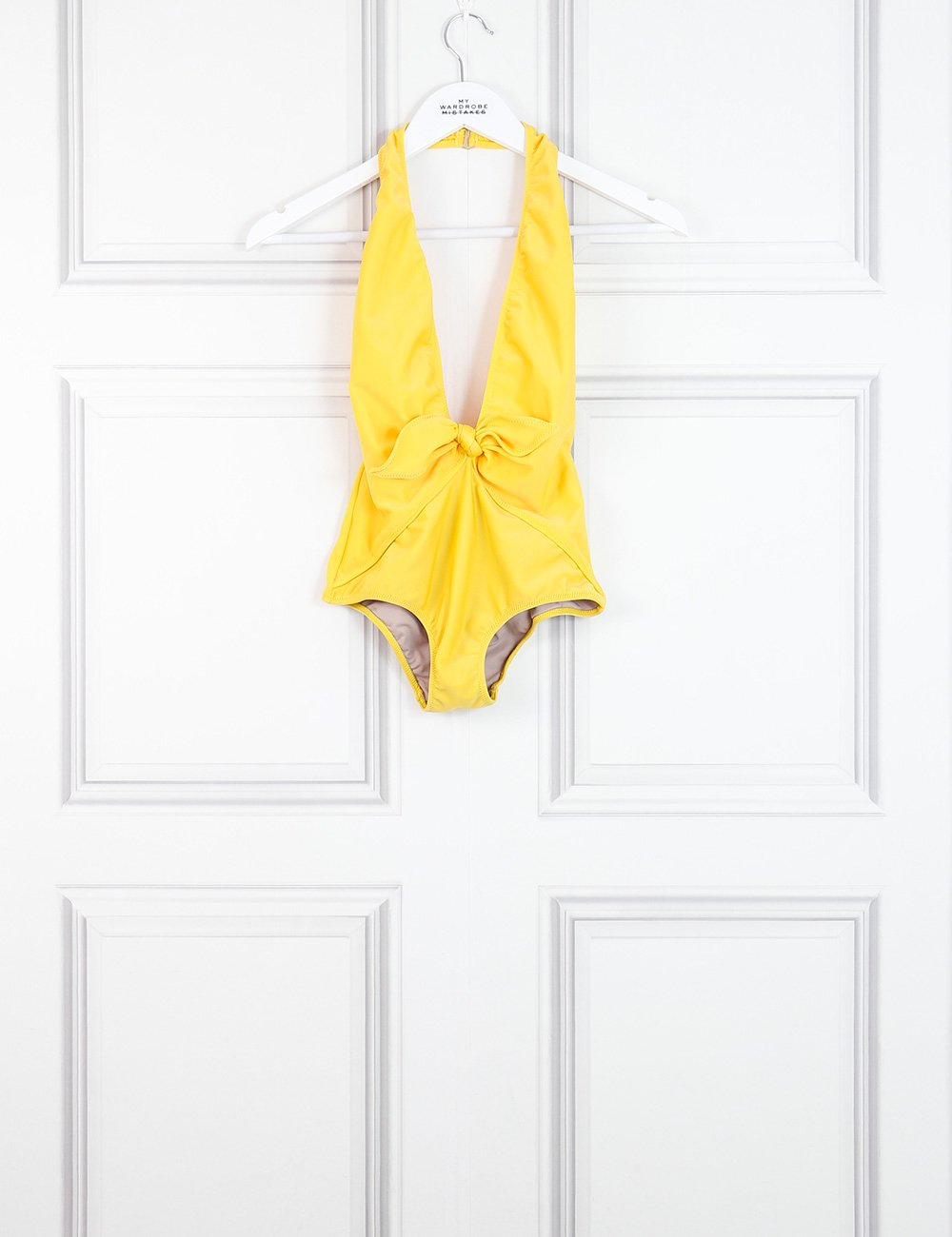 Adriana Degreas yellow halter neck swimsuit with deep v-neck 6UK- My Wardrobe Mistakes