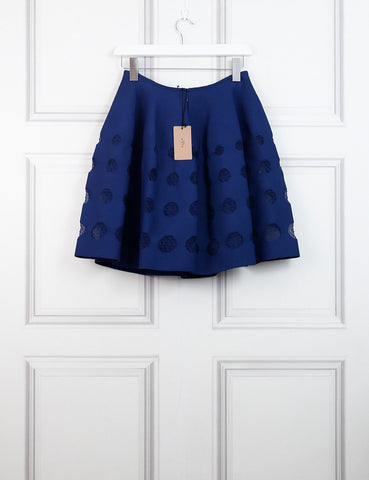 ALAIA Blue Atlas flared skirt with see-through dots 12 UK- My Wardrobe Mistakes