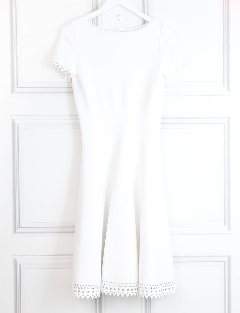 Alaia white dress with cutout leather details 14UK- My Wardrobe Mistakes