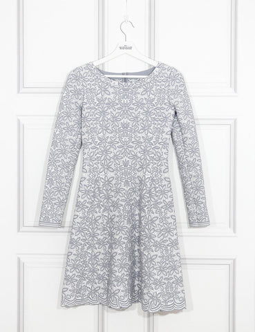 Alaia grey floral print fit and flared dress 10UK- My Wardrobe Mistakes