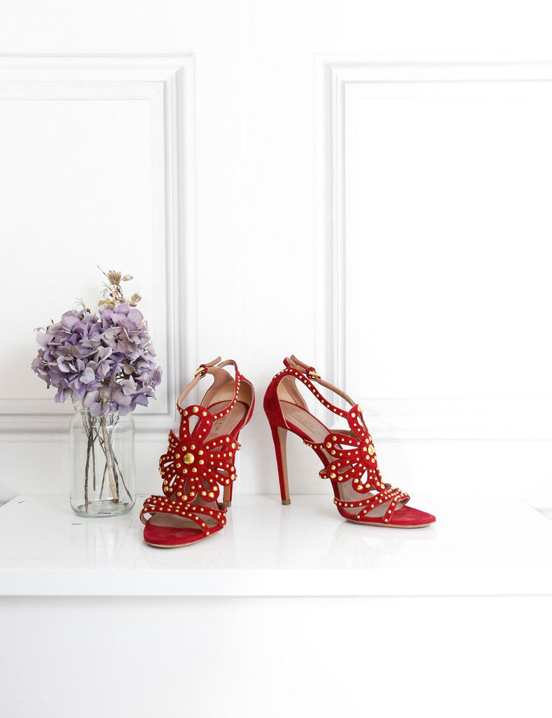 Alaia red suede studded stiletto sandals 5UK- My Wardrobe Mistakes