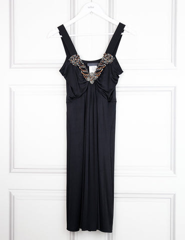 Alberta Ferretti black sleeveless fitted dress with jewel embellishment 10UK- My Wardrobe Mistakes