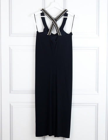 ALBERTA FERRETTI Cross back embellished dress