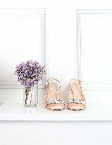 Alessandro dell'Acqua beige open back sandals with embellishments 7UK- My Wardrobe Mistakes