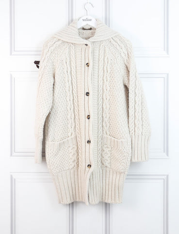 Alexander McQueen white cable knitted pullover with chain detail 12Uk- My Wardrobe Mistakes
