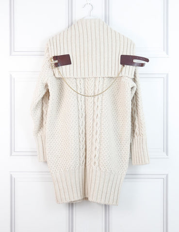 ALEXANDER McQUEEN Cable knitted pullover with chain detail