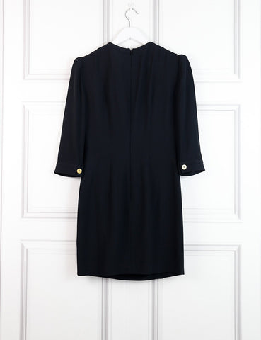 Alexander McQueen black classic dress with 6 golden buttons 8UK- My Wardrobe Mistakes