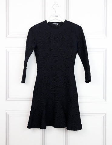 Alexander McQueen black embossed knit a-line dress 8UK-My Wardrobe Mistakes