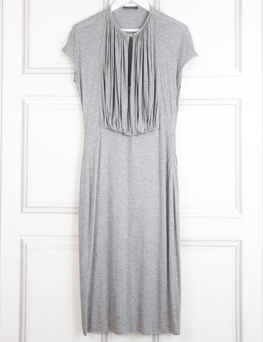 Alexander McQueen grey mid-length cap-sleeved jersey dress 10 Uk- My Wardrobe Mistakes