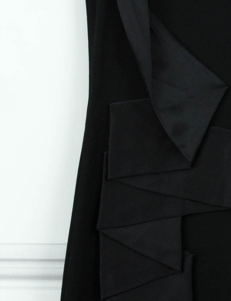 Alexander McQueen second hand black sleeveless satin pleated dress for sale 10UK- My Wardrobe Mistakes