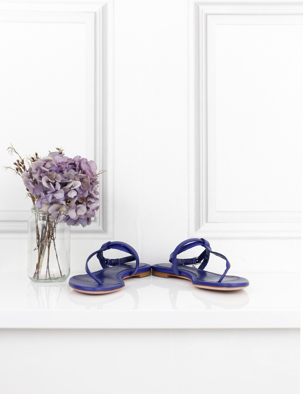 ALEXANDER MCQUEEN SHOES 2UK-35IT-36FR / Blue ALEXANDER MCQUEEN Flat sandals with signature details on the ankle