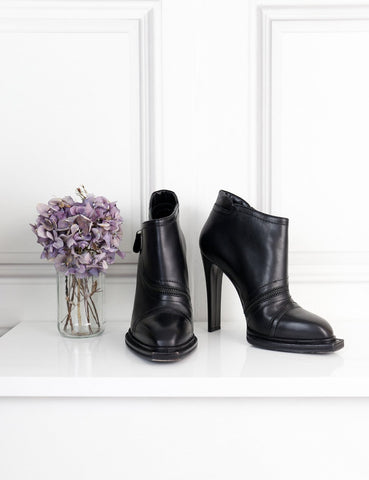 Alexander McQueen black heeled ankle boots with square toe 6Uk- My Wardrobe Mistakes