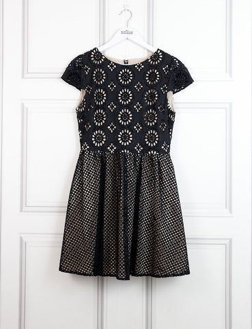 Alice+Olivia multicolour skater dress with motives in lace 10UK- My Wardrobe Mistakes