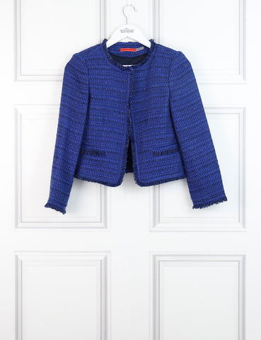 Alice+Olivia blue Nila tweed jacket 6UK- My Wardrobe Mistakes