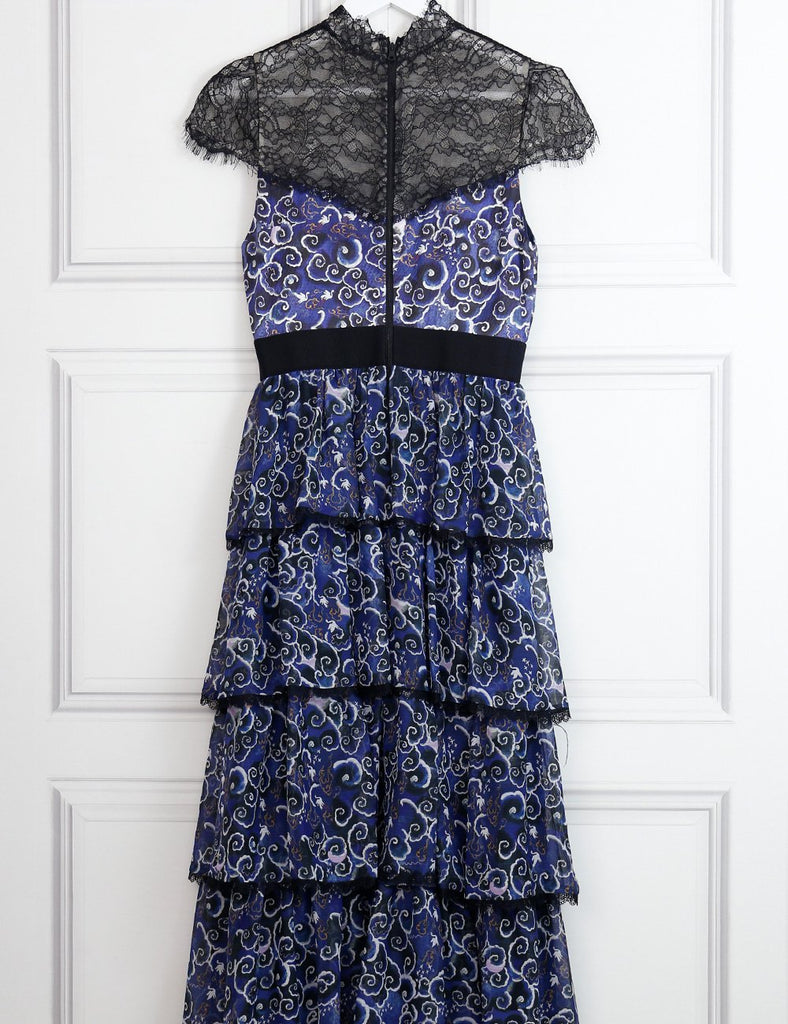 Alice+Olivia McKee Chantilly lace-paneled tiered printed silk maxi dress 8Uk