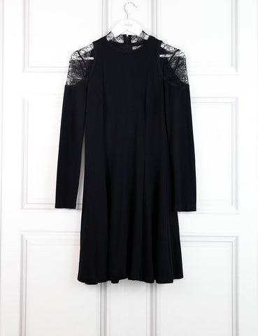 Alice+Olivia black dress with lace on the shoulders 8Uk- My Wardrobe Mistakes