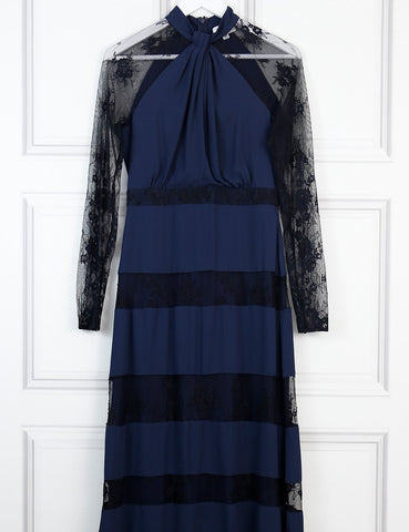 Alice by Temperley navy blue long dress with black lace 10 Uk- My Wardrobe Mistakes