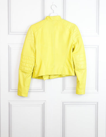 Amanda Wakeley yellow neon leather biker jacket 12Uk- My Wardrobe Mistakes
