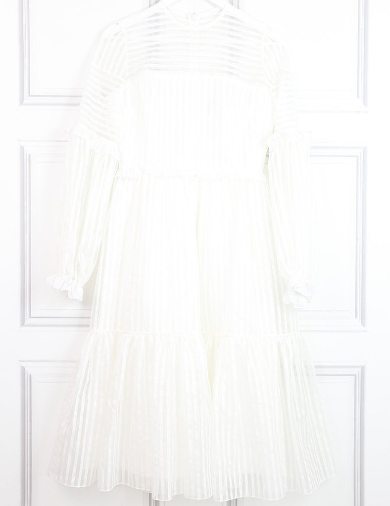 Anna October white knee-length long sleeves dress with ruffles 8UK- My Wardrobe Mistakes