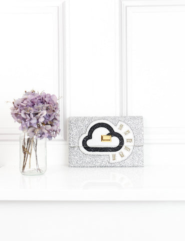 Anya Hindmarch silver Sunny glitter clutch bag- My Wardrobe Mistakes